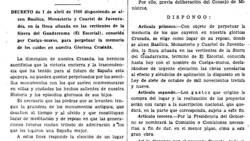 Decreto de Franco para la construcción del Valle de los Caídos