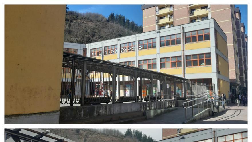 Arriba, el colegio San Lorenzo repleto de niños en el patio, abajo el colegio ocho días después a la misma hora
