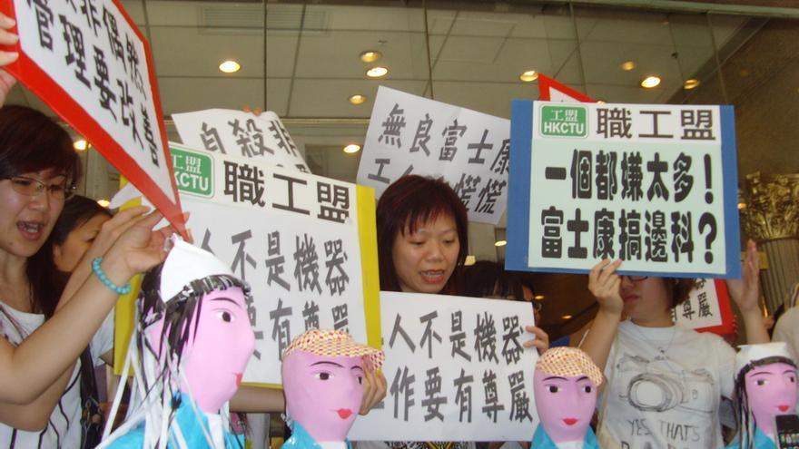 Protestas por la situación de los trabajadores de Foxconn, en 2010 (Imagen: Lennon Ying-Dah Wong | Flickr)