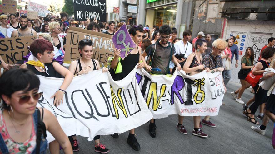 Bloque de personas no binarias en la manifestación del Orgullo Crítico en Madrid (junio, 2019)