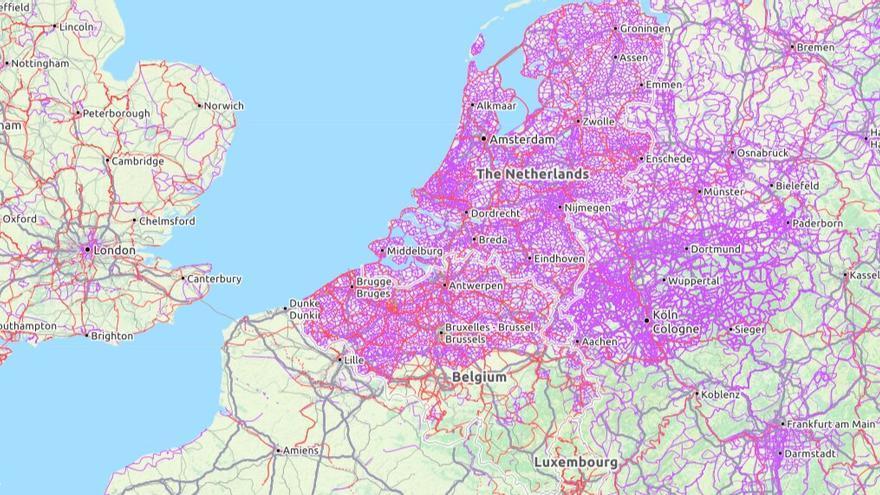 Mapa realizado por Andy Allan a partir de los datos de Open Street Maps.
