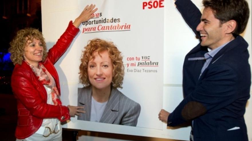 Eva Díaz Tezanos y Pedro Casares durante el arranque de la campaña electoral del PSOE.