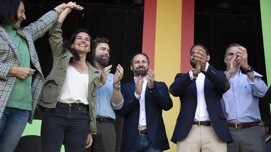 La dirección nacional de Vox en el acto celebrado en Barcelona en el mes de marzo