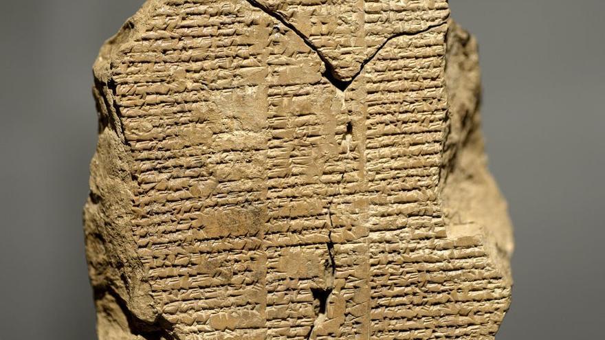 Ejemplo de escritura cuneiforme (Epopeya de Gilgamesh), Sulaymaniyah Museum, Iral