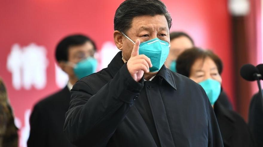 Xi Jinping en una visita a Wuhan el 9 de marzo.