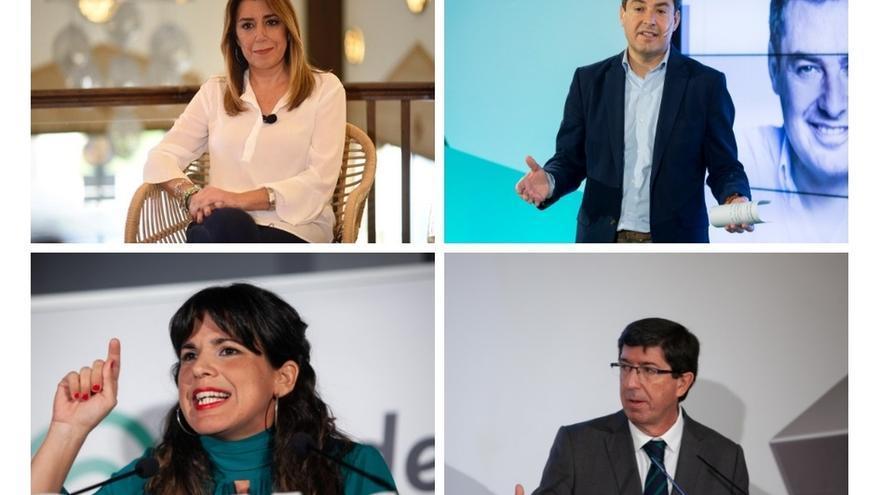 Díaz, Moreno, Rodríguez y Marín protagonizan este lunes en Canal Sur TV el primer 'debate a cuatro' de la campaña