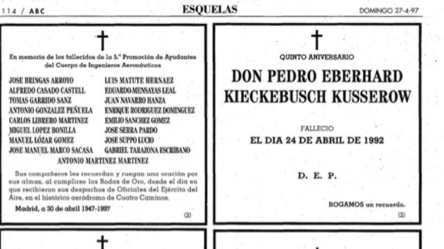 Esquela de Pedro Eberhard Kieckebusch en el ABC, 1992