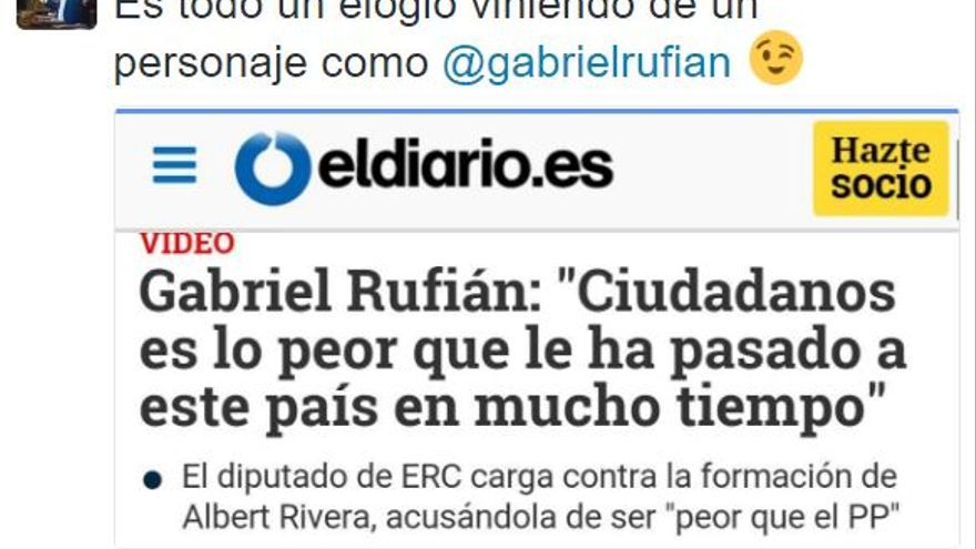 """""""Es todo un elogio viniendo de un personaje como Gabriel Rufián"""", escribe el secretario de organización de Ciudadanos, Fran Hervías."""