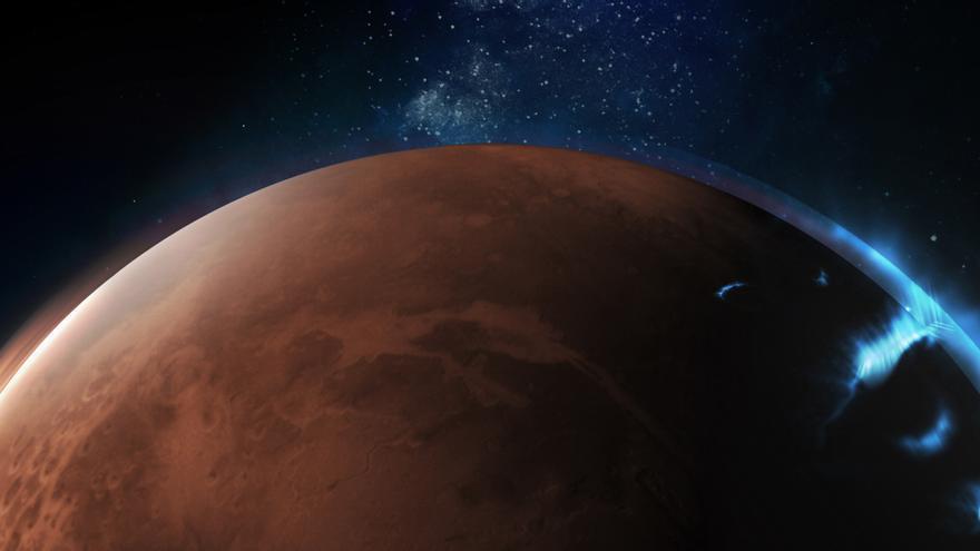 Emiratos publica las primeras fotografías de la aurora discreta de Marte