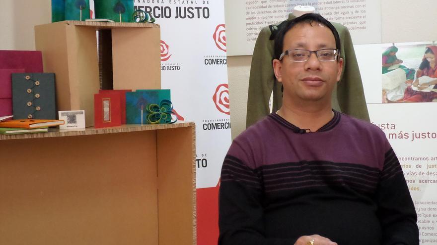 El presidente de la organización 'Mahaguti', Sunil Chitrakar. FOTO: Coordinadora de Comercio Justo