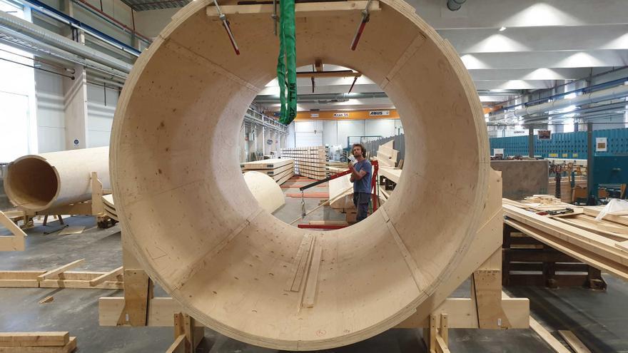 Uno de los módulos del aerogenerador de madera de la empresa Modvion.