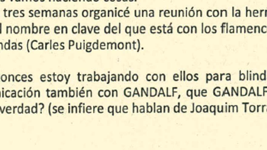 Captura del informe policial que habla sobre los pseudónimos de Torra y Puigdemont.