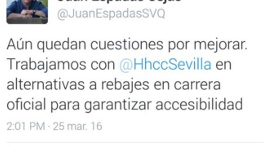 Juan Espadas respondía así en su cuenta de twitter