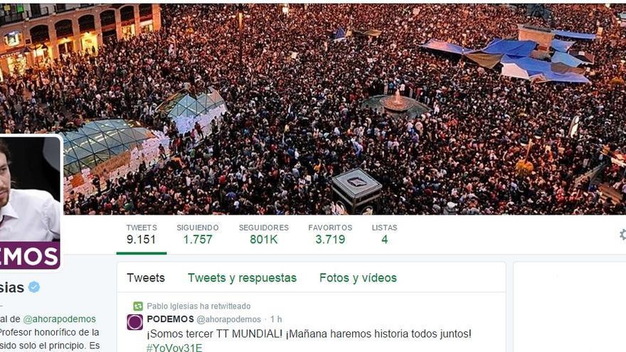 El perfil de Twitter de Pablo Iglesias (Foto: Twitter)