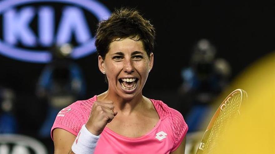 Carla Suarez Navarro tras vencer a Daria Gavrilova en la cuarta ronda en el Abierto de Australia.