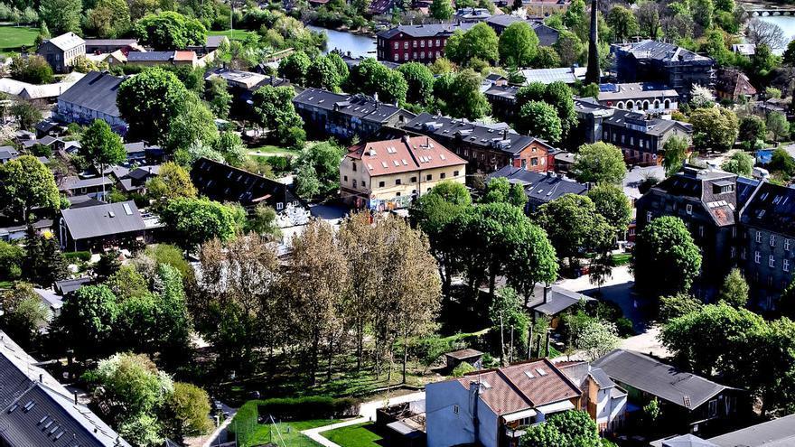 Vista aérea del barrio de Christianía, en Copenhague.