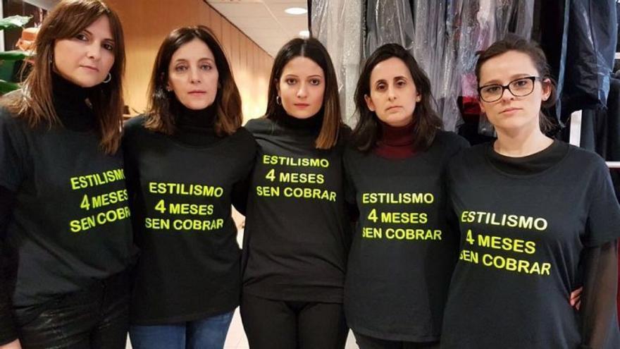 Trabajadoras del servicio de estilismo de la TVG, movilizadas para exigir sus salarios