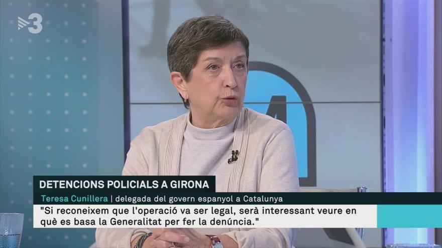Teresa Cunillera, delegada del Gobierno en Catalunya, este martes en TV3