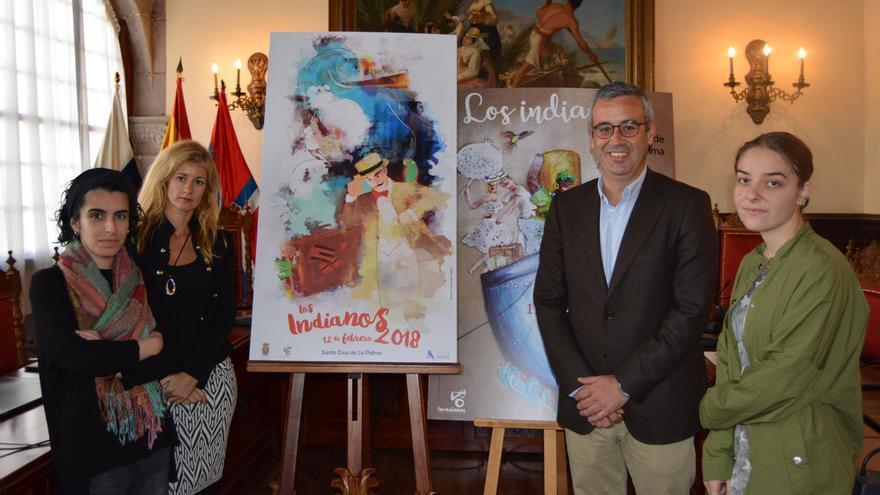 Presentación de los carteles del Día de Los Indianos y Los Indianitos. De izq. a dcha. Myriam Fernández, Virginia Espinosa, Sergio Matos y Ester Fernández Briones