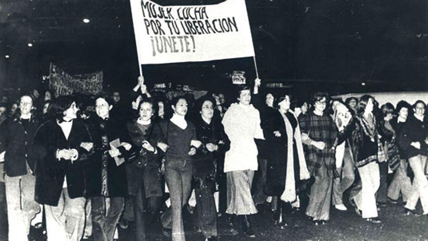 Manifestación feminista en Madrid en 1977