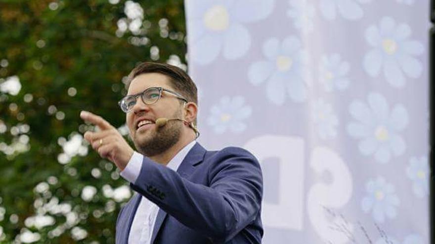 Jimmie Åkesson, líder del partido ultra Demócratas Suecos, durante un acto de partido en agosto de 2017.
