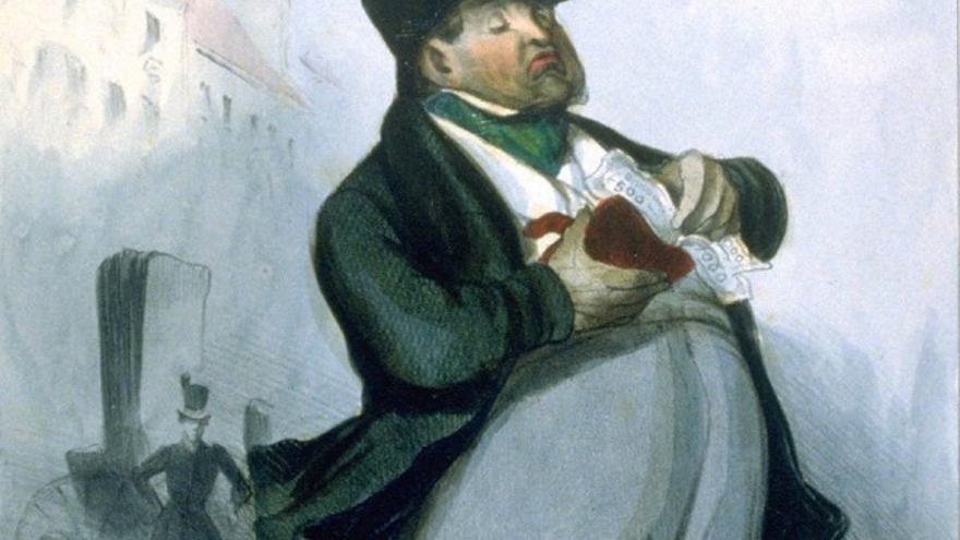 Banquier (detalle), Honoré Daumier, 1835.