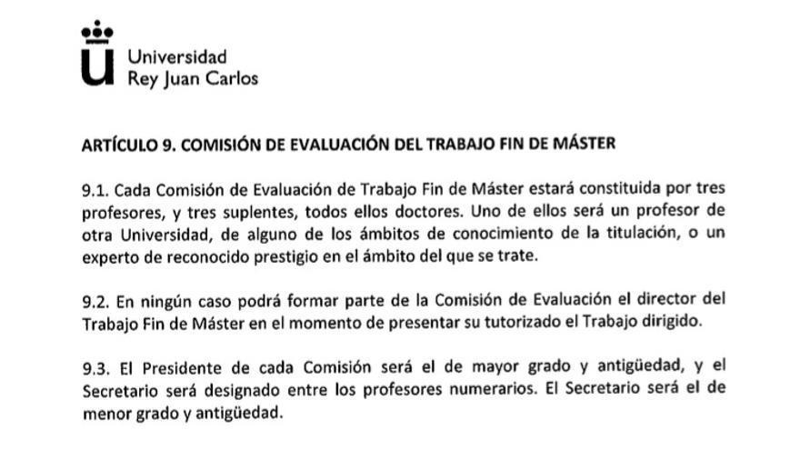Artículo 9 del Reglamento sobre los Trabajos Fin de Máster de la Universidad Rey Juan Carlos