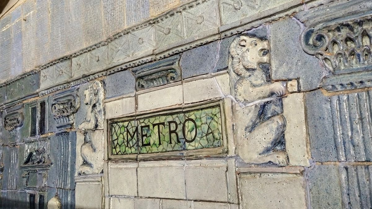 Parte del mosaico recuperado en la estación de Gran Vía, que muestra los leones del templete de Palacios