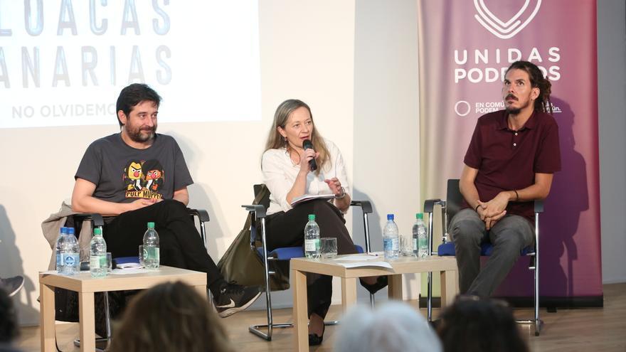 Rafa Mayoral, Victoria Rosell y Alberto Rodríguez en Las Palmas de Gran Canaria.