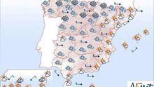 Mañana vientos fuertes del Cantábrico a Pirineos, Baleares y litoral sur