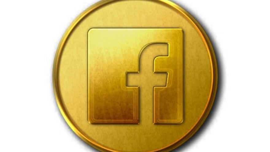 Una dibujo de una moneda con el logo impreso de Facebook