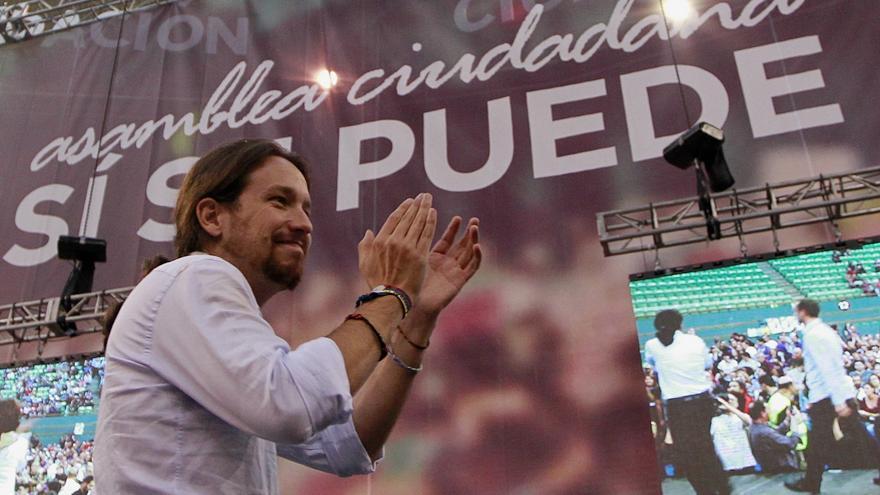 Pablo Iglesias, en la Asamblea de Podemos en Vistalegre. / Marta Jara
