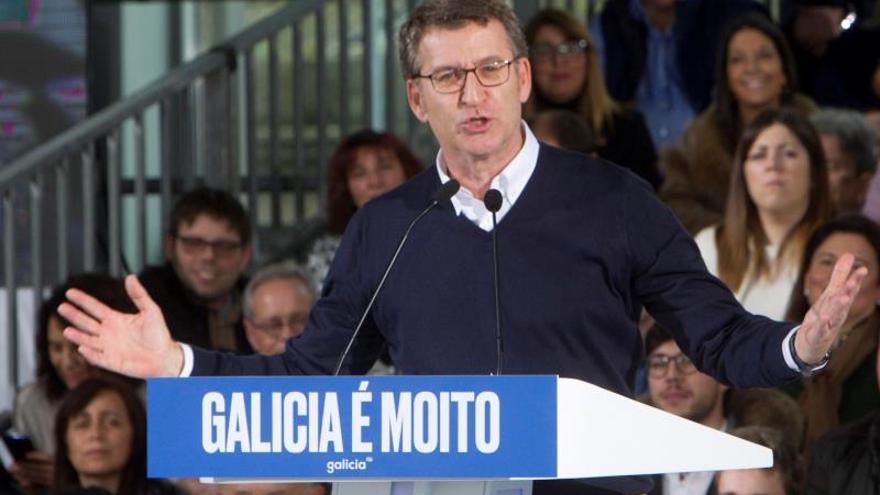 Feijóo, durante el mitin de proclamación como candidato del PP a las elecciones gallegas