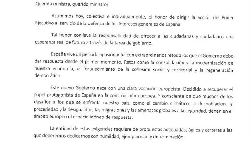 Carta de Pedro Sánchez a sus ministras y ministros.