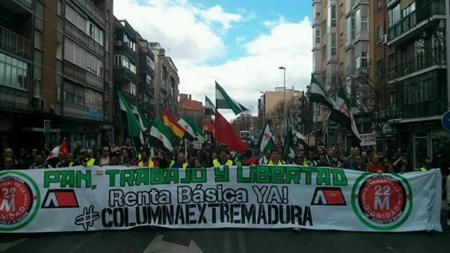 Protesta por la renta básica extremeña el pasado 22 de marzo en Madrid.