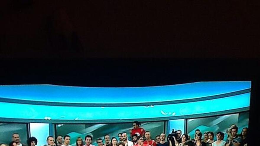 Los trabajadores de Canal 9 anunciando el cierre de la cadena.