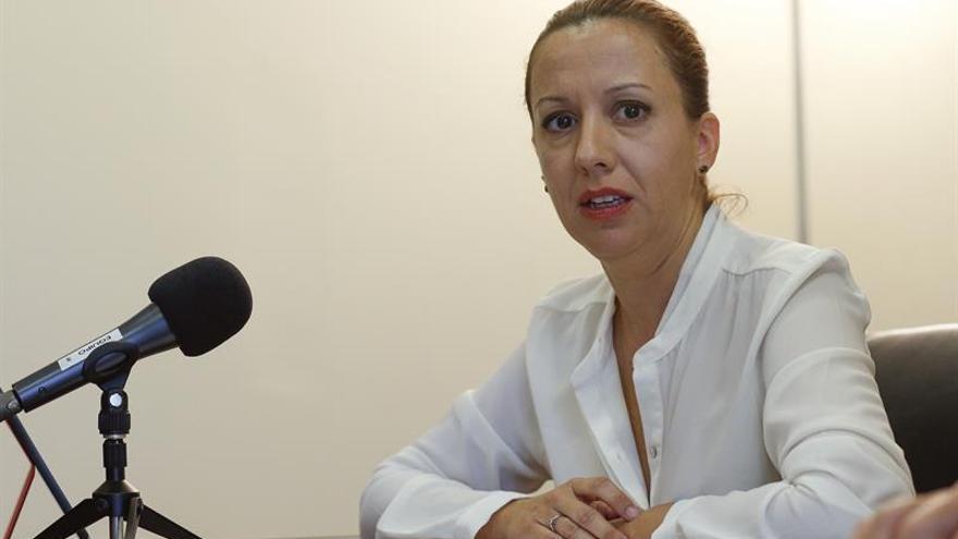 La consejera de Hacienda de Canarias, Rosa Dávila, durante la rueda de prensa que ha ofrecido tras reunirse con la directora general de Presupuestos de la Comisión Europea.