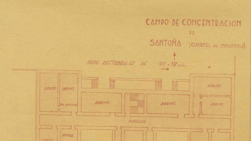 Plano realizado por el Ejército franquista del campo de concentración de Santoña