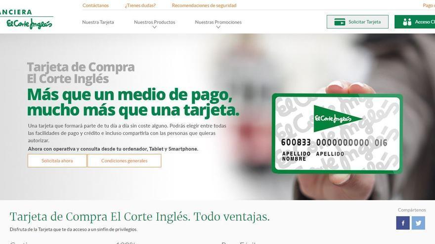 Imagen de la página web de Financiera El Corte Inglés.