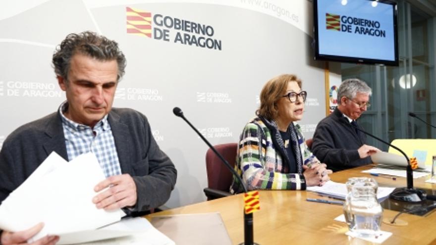 Javier Falo, Pilar Ventura y Javier Marión han ofrecido una comparecencia para informar sobre el primer caso de coronavirus en Aragón.