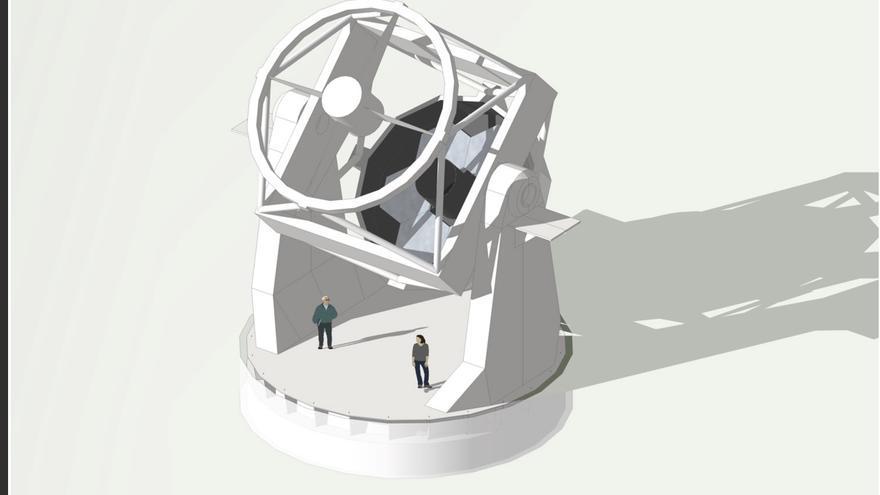 Imagen del nuevo telescopio robótico de 4 metros generada por ordenador. Crédito: Dr Jon Marchant (ARI).