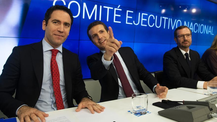 Teodoro García Egea, Pablo Casado y Javier Maroto, la semana pasada.