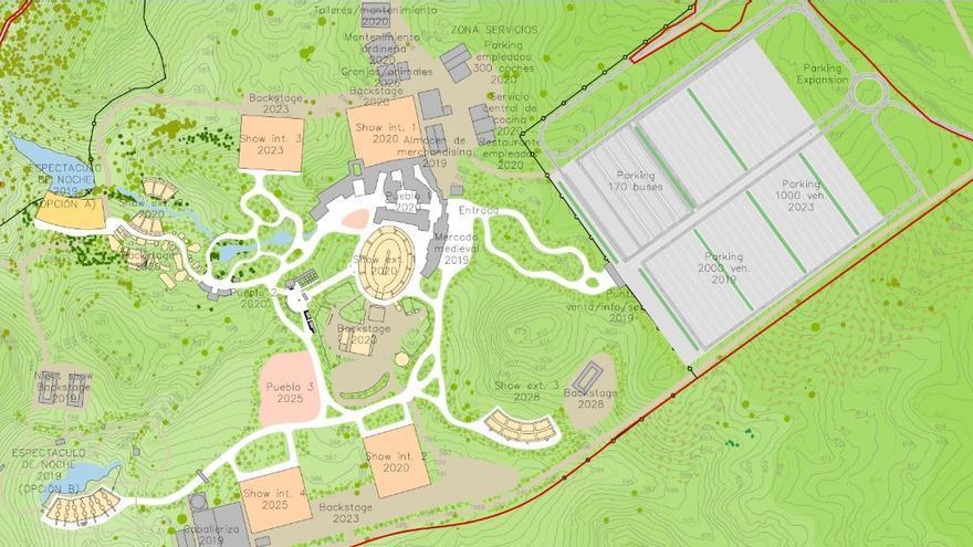 Distribución del parque temático Puy du Fou con la previsión de apertura de las distintas zonas