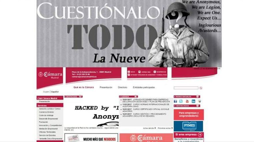 La web de la Cámara de Comercio de Madrid durante el hackeo