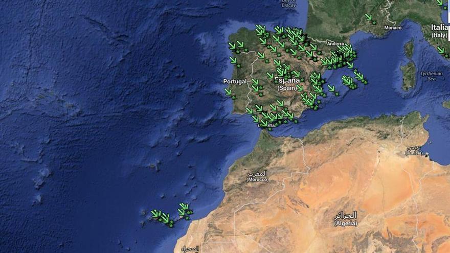 Mapa de las Asociaciones Cannábicas en España.