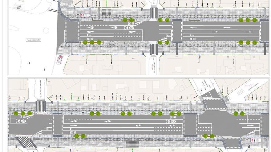 Plano de las obras de la Gran Vía: de Plaza de España a San Bernardo. (eldiario.es)