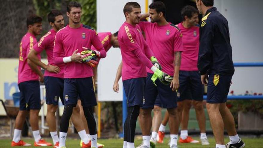Jugadores de la UD Las Palmas durante una sesión de entrenamiento de cara al partido contra el Levante