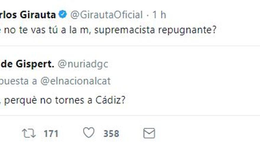 Respuesta de Juan Carlos Girauta a Núria de Gispert en Twitter