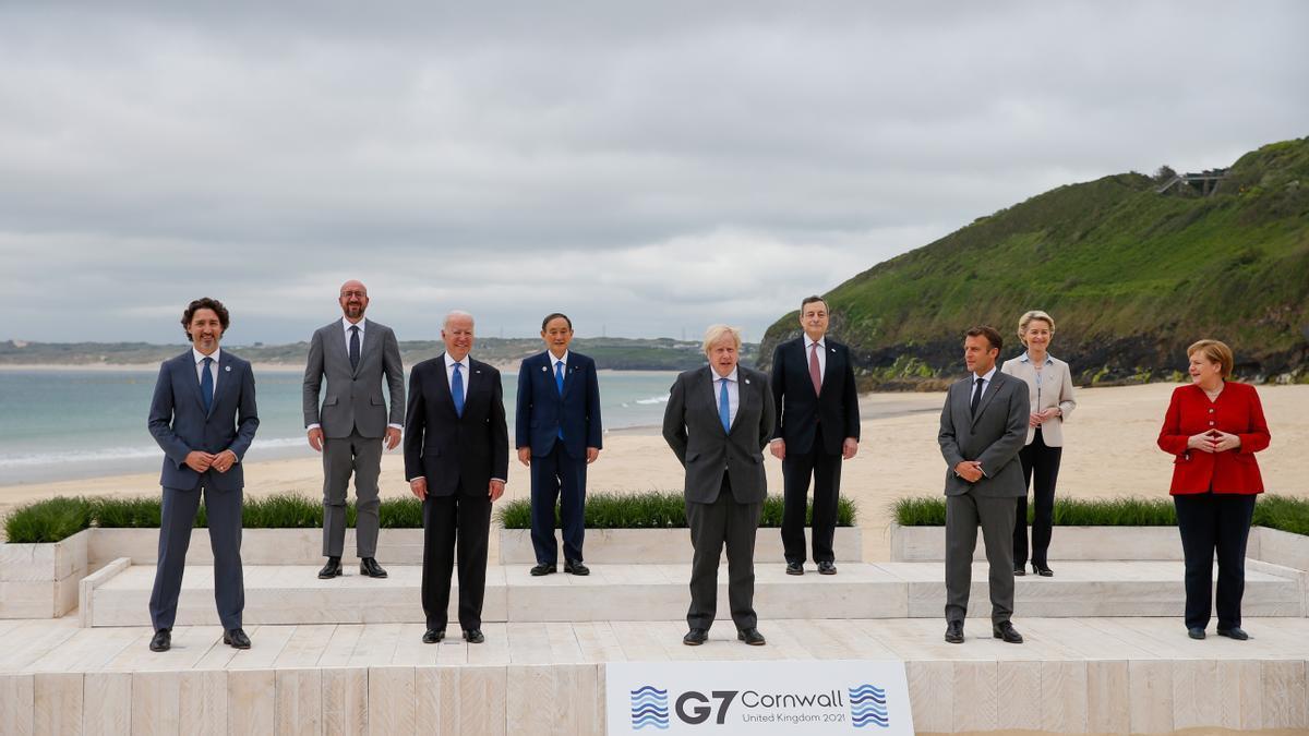Los líderes del G7 reunidos en Cornualles (suroeste de Inglaterra).