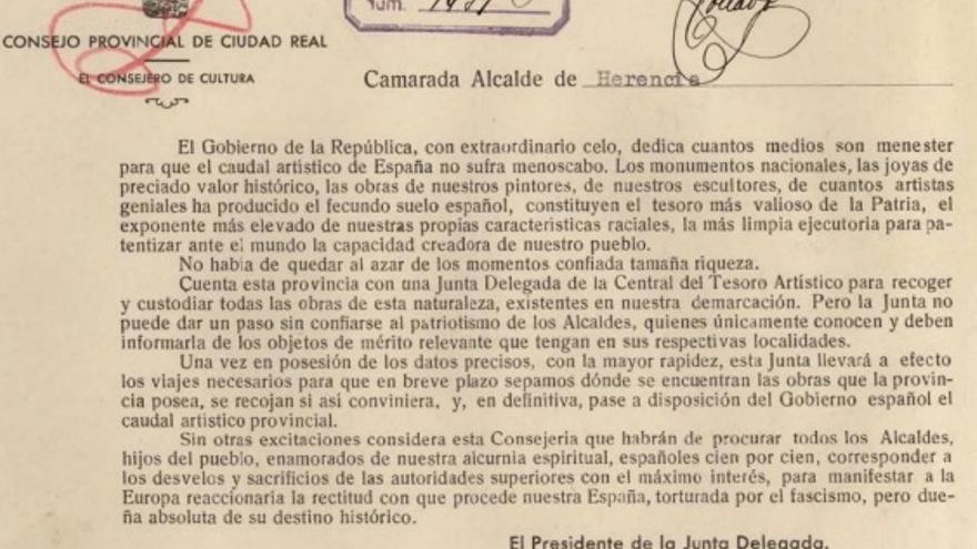 Circular de la Junta Delegada del Tesoro Artístico de Ciudad Real a los ayuntamientos